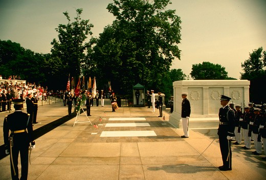 Memorial Day ceremony, Tomb of the Unknown Soldier, Arlington Cemetary. : Stock Photo