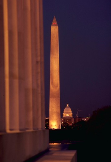 Stock Photo: 4286-34978 Lincoln Memorial, Washington Monument, and Capitol, Washington, DC.
