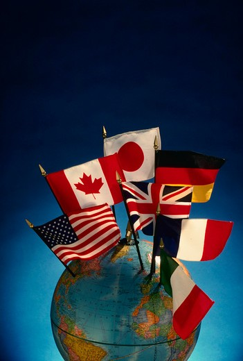 Stock Photo: 4286-34981 Flag of Economic 'Group of Seven' on globe.