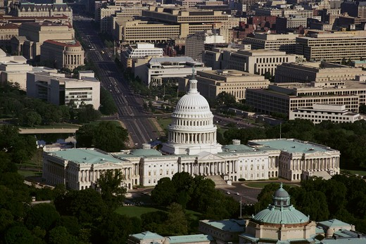 Stock Photo: 4286-35028 Aerial View of the U.S. Capitol in Washington, DC. - CF14443