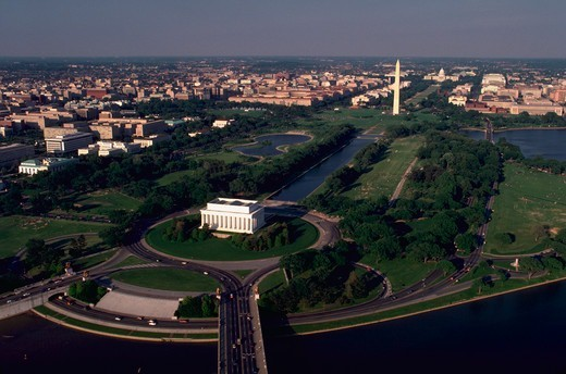Aerial view of the mall area of Washington, DC. showing the Lincoln Memorial, Washington Monument and the Capitol. - AA06743 : Stock Photo