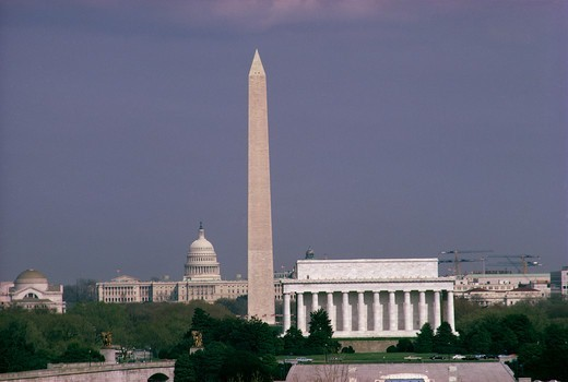 Stock Photo: 4286-35036 Washington, DC skyline showing the Lincoln Memorial, Washington Monument and the U.S. Capitol.