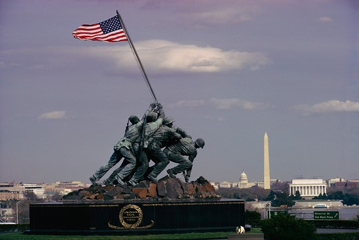 Marine Corps Memorial with the Lincoln Memorial, Washington Monument and the Capitol in the background. - AA09068 : Stock Photo