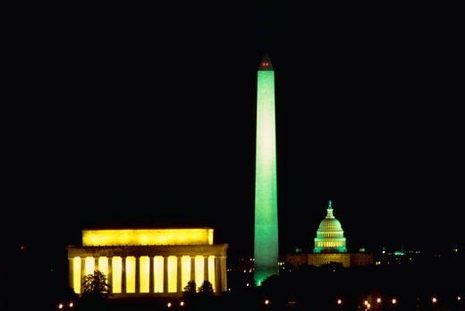 Stock Photo: 4286-35040 Three monuments in line at night -- Lincoln Memorial, Washington Monument and the U.S. Capitol. - DA11255