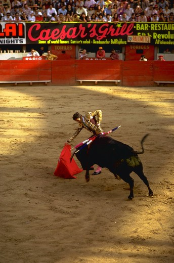 Stock Photo: 4286-35691 Bullfight in Mexico.  Shows matador using cape to control bull in one of a series of dangerous passes.  Excitement of a controversial sport, where man competes with animals.  Testing oneself.  Risk-taking.  (Travel.  Sport.  Occupations.  Concepts.)