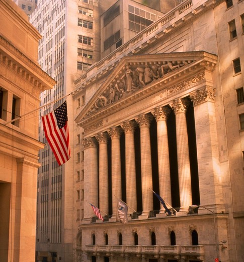 Stock Photo: 4286-35851 Exterior of New York Stock Exchange.