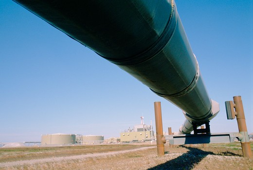 Stock Photo: 4286-36172 View from below of an oil pipeline in Prudhoe Bay, Alaska.