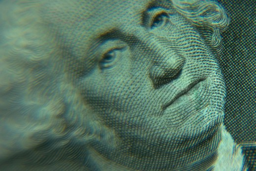 Close-up, still life of George Washington?s face on a One Dollar bill. : Stock Photo