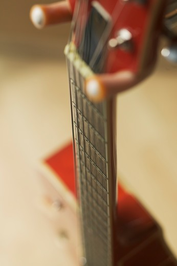 Stock Photo: 4286-40116 Recording studio equipment. Guitar on stand.  PR-0536