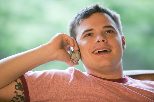 Stock Photo: 4286-40263 Man talking on cell phone  MR-0507 PR-0505