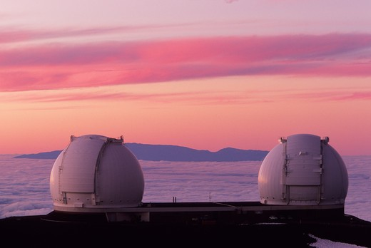 Stock Photo: 4286-40833 Mauna Kea observatory Hawaii.