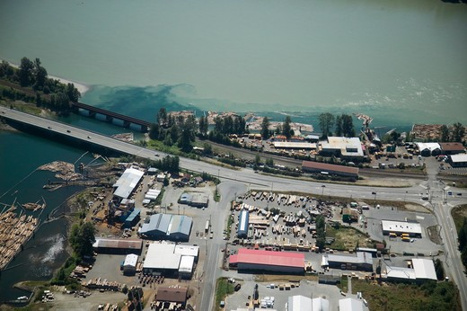 Stock Photo: 4286-41140 Aerial View Fraser River and Cedar Mill  Fraser Valley British Columbia Canada