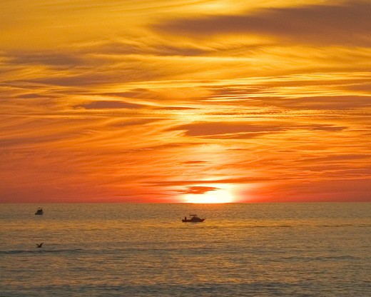 Distant view of a sailboat with the sun setting behind it n Dana Point Harbor, CA.  : Stock Photo