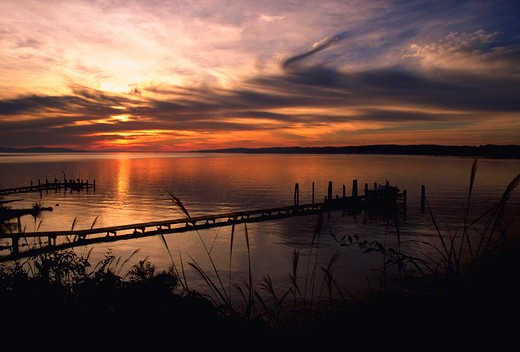 Stock Photo: 4286-41613 Silhouette of pier on Magothy River at sunset, Pasadena, Maryland.