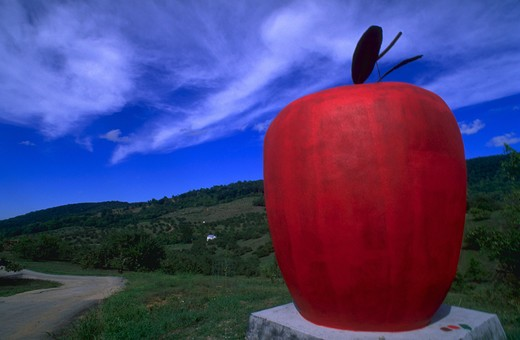 Big red apple on mountain farm with blue sky and clouds, Front Royal, Virginia. : Stock Photo