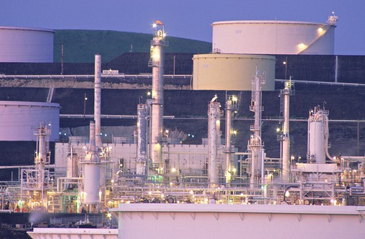 refinery dusk Rodeo California : Stock Photo