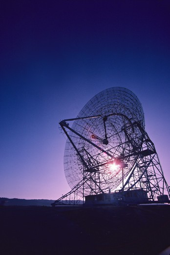 radio telescope sunset Stanford California : Stock Photo