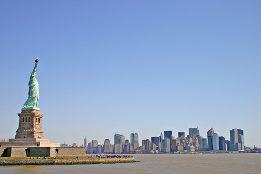 Stock Photo: 4286-42277 Statue of Liberty and Manhattan skyline 2005