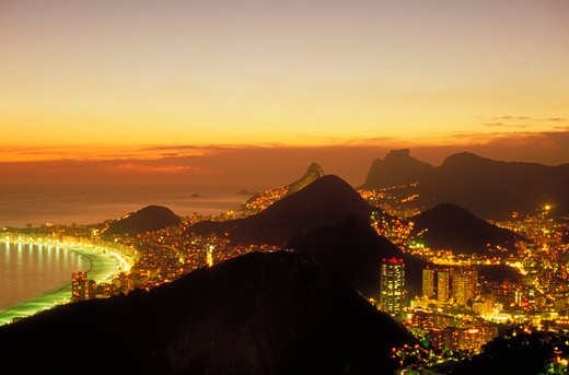 Stock Photo: 4286-42618 Aerial view at sunset of Rio de Janeiro, Brazil from atop Sugarloaf with the world famous Copacabana Beach to the left.