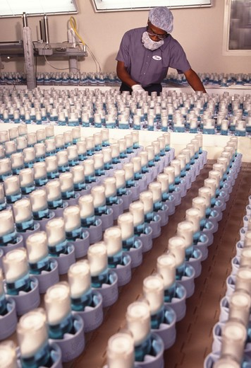 A technician inspects the production of stick deodorant on an assembly line : Stock Photo