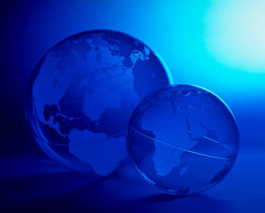 Stock Photo: 4286-43687 Acrylic globes with blue light