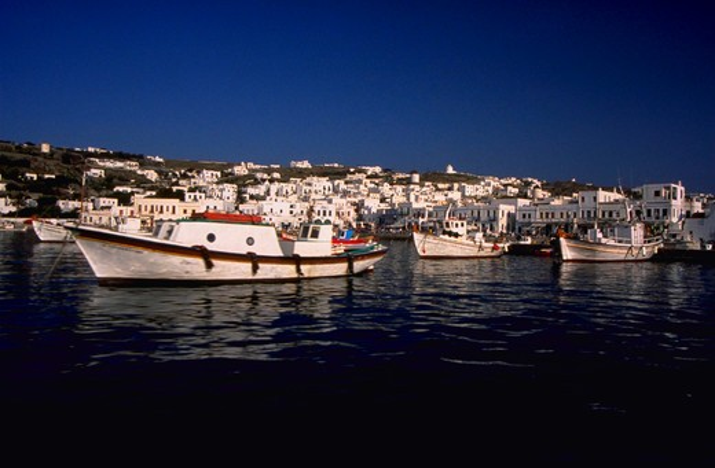 Stock Photo: 4286-44078 MYKONOS GREECE HARBOR WITH BOATS