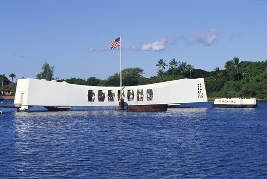 Arizona Memorial, Pearl Harbor, Honolulu, Oahu, Hawaii, USA : Stock Photo