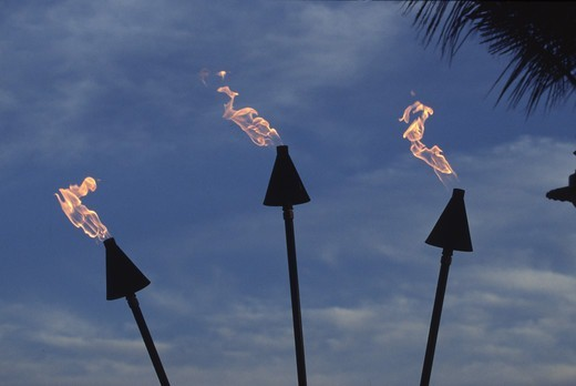 Stock Photo: 4286-46054 Tiki Torches, Hawaii, USA