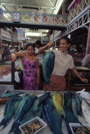 Stock Photo: 4286-46076 Fish market, Papeete, Tahiti, French Polynesia (not model released)