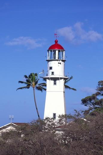 Diamond Head Lighthouse, Waikiki, Oahu, Hawaii : Stock Photo
