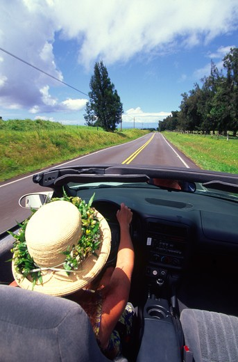 Driving, Kohala, Island of Hawaii : Stock Photo