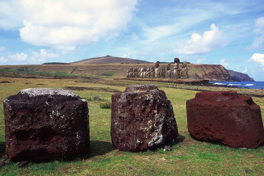 Ahu Tongariki, restored 1992, Easter Island (Rapa Nui), Chile : Stock Photo
