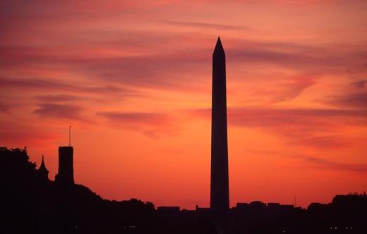 Sunset, Washington Monument, Washington, D.C. : Stock Photo