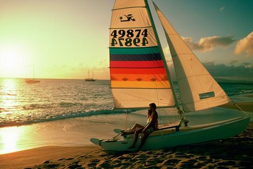 Couple on Beach, Kaanapali, Maui, Hawaii : Stock Photo