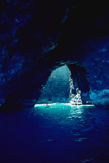 Stock Photo: 4286-49666 Kayaking in cave, Napali Coast, Kauai, Hawaii