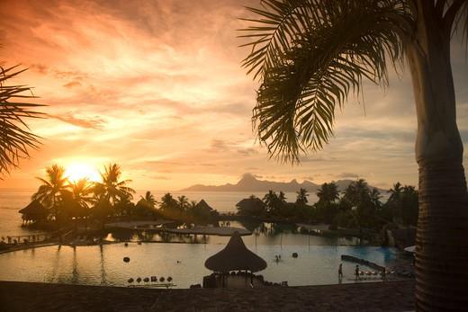 Moorea from Beachcomber Resort, Papeete, French Polynesia : Stock Photo