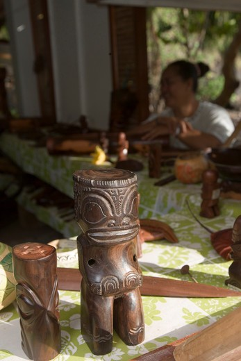 Stock Photo: 4286-51923 Crafts store, Hokatu, Ua Huka, Marquesas Islands, French Polynesia