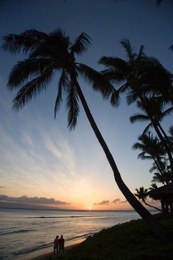 Stock Photo: 4286-52496 Sunset, Kaanapali Beach, Maui, Hawaii