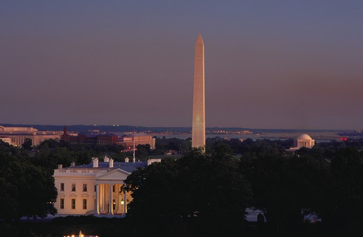View of the White House, the Washington Monument and the Jefferson Memorial within the Washington, DC skyline. : Stock Photo