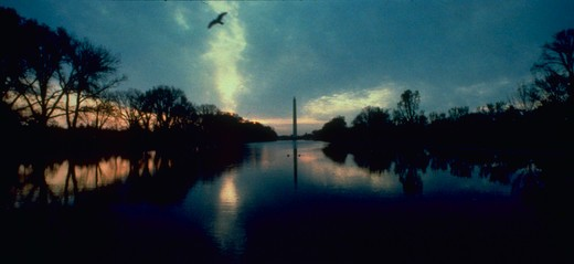 The Washington Monument and reflecting pool in early morning light.  Other monuments, US Capital, available in mood lighting. : Stock Photo