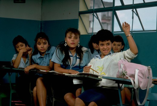 Stock Photo: 4286-54889 Students at their desks in elementary school english class in San Cristobal, Tachira State, Venezuela.
