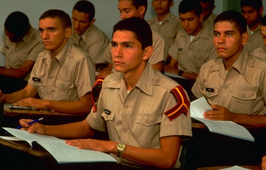 Stock Photo: 4286-54898 Venezuelan National Guard cadets at their desks in a classroom at the National Guard Academy in Cordero, Tachira State, in the Venezuelan Andes.