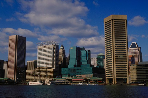Stock Photo: 4286-54991 Skyline of Inner Harbor, Baltimore, Maryland.