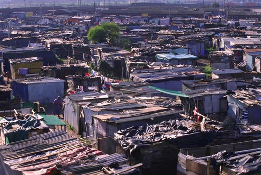 Stock Photo: 4286-55039 Aerial view of shanties in the black township of Gugulethu in Cape Town, South Africa.