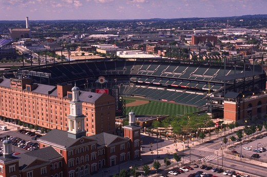 Stock Photo: 4286-55044 View of Oriole Park at Camden Yards baseball stadium in Baltimore, Maryland.
