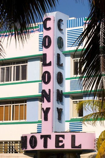 Stock Photo: 4286-55326 MIAMI BEACH, FLORIDA, USA - The Colony Hotel (1939), on Ocean Drive in South Beach, known for its historical Art Deco architecture.