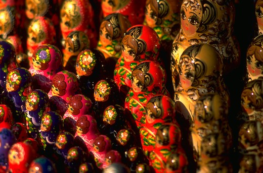 Stock Photo: 4286-56030 Rows of colorful Russian dolls.