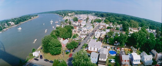 Stock Photo: 4286-56376 Aerial of Chesapeake City, Maryland
