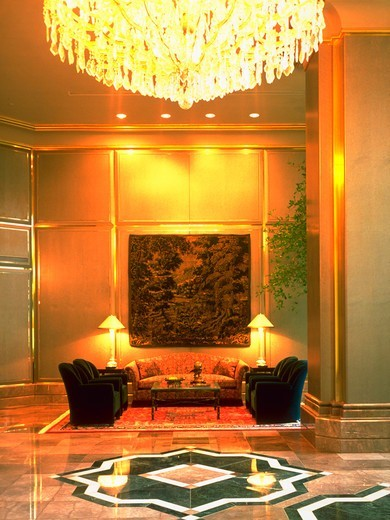 A sitting area in the lobby of a condominium building in Bethesda, Maryland with chairs and couches. : Stock Photo