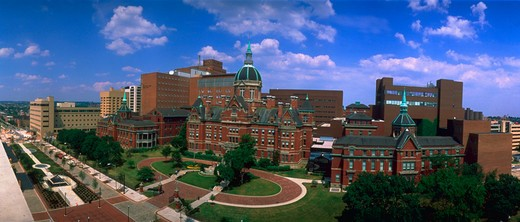 Panoramic view of the Johns Hopkins Hospital Campus in Baltimore, Maryland.    : Stock Photo